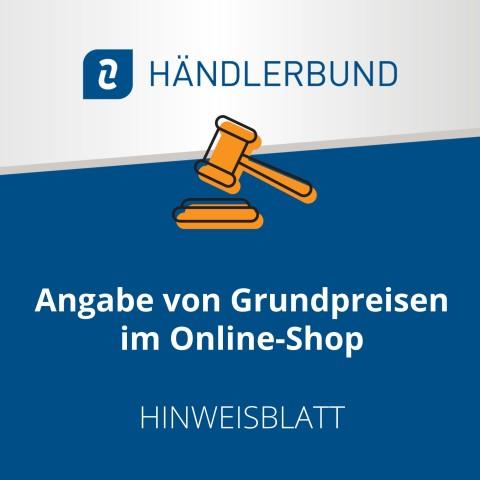 Angabe von Grundpreisen im Online-Shop (Hinweisblatt) 1