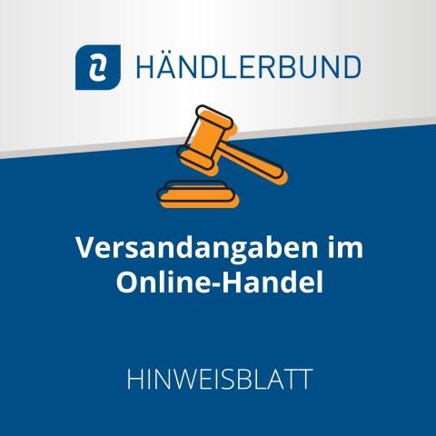 Versandangaben im Onlinehandel (Hinweisblatt) 1