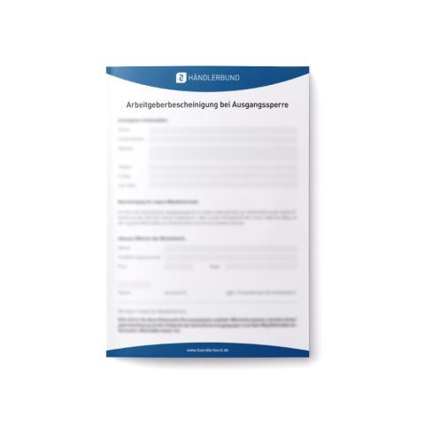 Arbeitgeberbescheinigung bei Ausgangssperre (Mustervorlage) 1