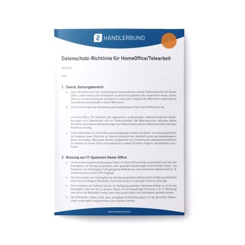 Datenschutz-Richtlinie für HomeOffice/Telearbeit (Mustervorlage) 1